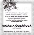 Príloha č. 110fd Parte pani Rozálie Čubaňovej